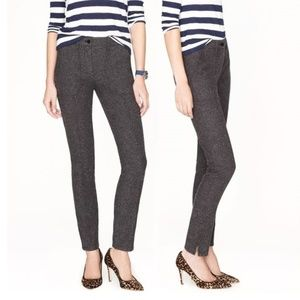 J.Crew Gray Cotton Herringbone Skinny Zip Pants